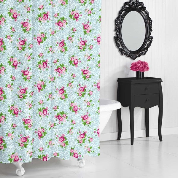 betsey johnson floral leopard shower curtain - free shipping on