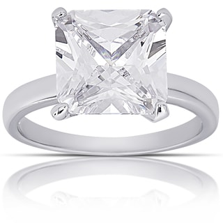 Dolce Giavonna Silver Overlay Cubic Zirconia Square-cut Solitaire Engagement Ring