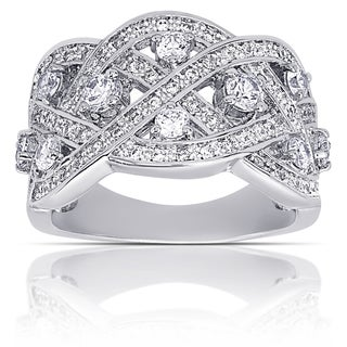 Dolce Giavonna Silver Overlay Cubic Zirconia Filigree Deign Anniversary Ring