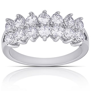 Dolce Giavonna Silver Overlay Cubic Zirconia 2-Row Ring