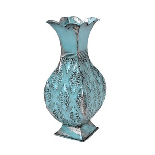 Turquoise/Silver Metal 16-inch Vase