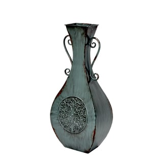 Jeco Metal 27.25-inch Turquoise Handled Vase