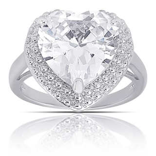 Dolce Giavonna Silver Overlay Cubic Zirconia Heart Engagement Ring