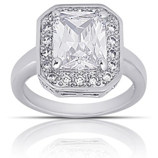 Dolce Giavonna Silver Overlay Cubic Zirconia Vintage Halo Engagement Ring