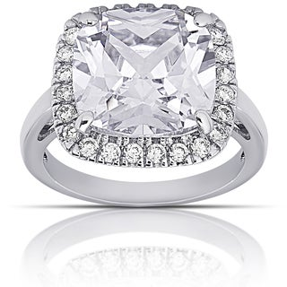 Dolce Giavonna Silver Overlay Cushion-cut Halo Engagement Ring