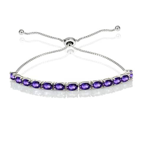 Sterling Silver Gemstone Oval-Cut Adjustable Bracelet