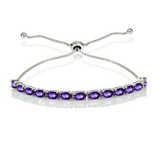 Sterling Silver Gemstone Oval-Cut Adjustable Bracelet|https://ak1.ostkcdn.com/images/products/14456526/P21018890.jpg?impolicy=medium