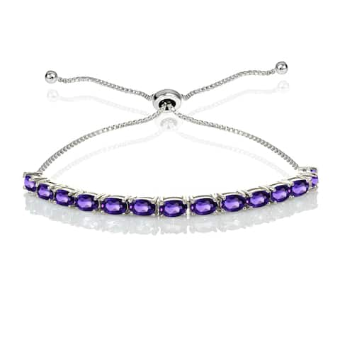 Sterling Silver Gemstone Oval-Cut Adjustable Bracelet