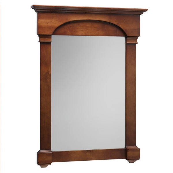 Shop ronbow verona colonial cherry solid wood frame 30 inch x 39 inch bathroom mirror brown for Cherry wood framed bathroom mirrors