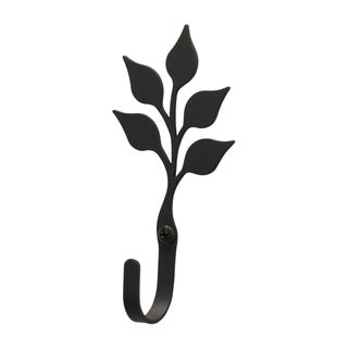 Village Black Wrought Iron Small Leaf Wall Hook