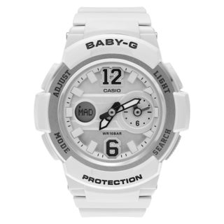 Casio Women's BGA-210-7B4 'Baby-G' White Resin Analog Digital Dual Time Dial Strap Watch