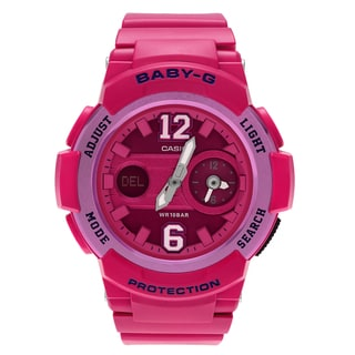 Casio Women's BGA-210-4B2 'Baby-G' Pink Dual Time Analog Digital Dial Strap Watch