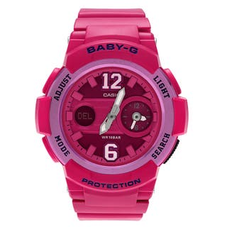 Casio Women's BGA-210-4B2 'Baby-G' Pink Dual Time Analog Digital Dial Strap Watch|https://ak1.ostkcdn.com/images/products/14456577/P21018929.jpg?impolicy=medium