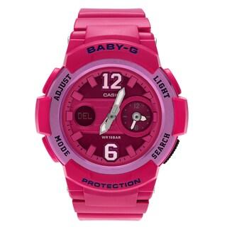 Casio Women's BGA-210-4B2 'Baby-G' Pink Dual Time Analog Digital Dial Strap Watch