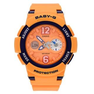 Casio Women's BGA-210-4B 'Baby-G' Yellow Analog Digital Dual Time Dial Strap Watch