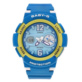 Casio Women's BGA-210-2B 'Baby-G' Teal Dual Time Analog Digital Dial Strap Watch