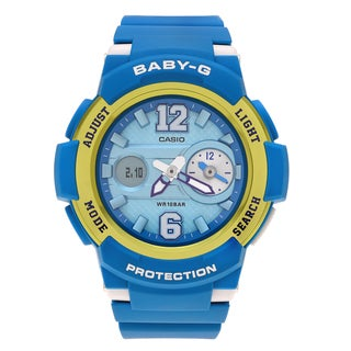 Casio Women's BGA-210-2B 'Baby-G' Teal Dual Time Analog Digital Dial Strap Watch