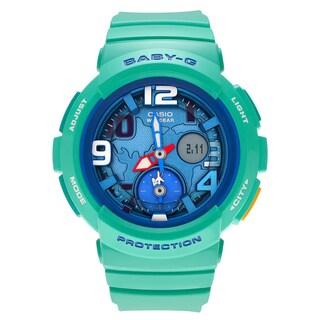 Casio Women's 'Baby-G' BGA-190-3B Green Resin Analog Digital Dual Dial Strap Watch