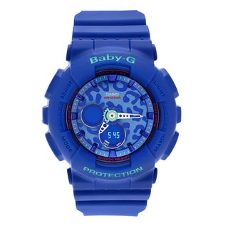 Casio Women's BA-120LP-2A 'Baby-G' Blue Analog Digital Animal Print Dial Strap Watch