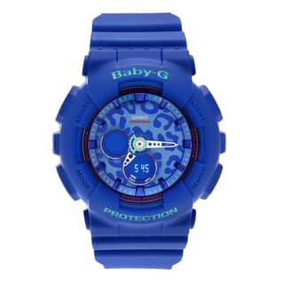 Casio Women's BA-120LP-2A 'Baby-G' Blue Analog Digital Animal Print Dial Strap Watch|https://ak1.ostkcdn.com/images/products/14456582/P21018933.jpg?impolicy=medium