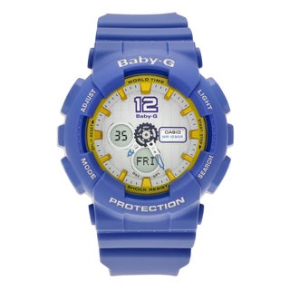 Casio Women's BA-120-2B 'Baby-G' Blue Resin Analog Digital Dial Strap Watch