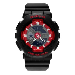 Casio Women's BA110SN-1A 'Baby-G' Black and Red Resin Analog Digital Dial Strap Watch