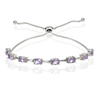 Link to Glitzy Rocks Sterling Silver Gemstone Oval Adjustable Bolo Bracelet Similar Items in Bracelets