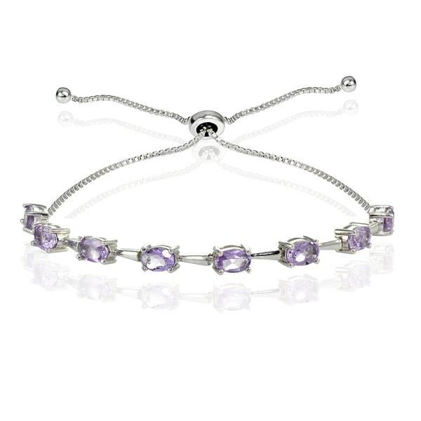 Glitzy Rocks Sterling Silver Gemstone Oval Adjustable Bolo Bracelet