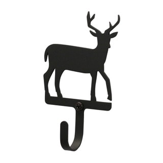 Village Black Wrought Iron Small Deer Wall Hook