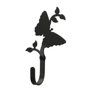 Village Black Wrought Iron Butterfly Small Wall Hook