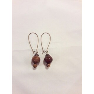 "Tigerskin ""Jasper"" Bead Dangle Earrings"