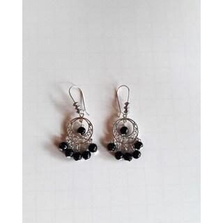 Handmade Black Glass Bead Chandelier Earrings (USA)