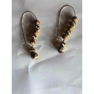 """Tigerskin """"Jasper"""" Bead Dangle Earrings"""