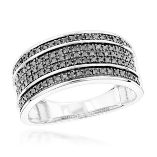Luxurman 10k Gold 2/5ct TDW 5-row Black Diamond Wedding Band (5 options available)
