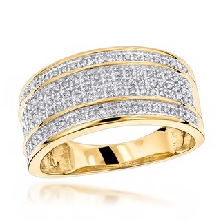 Luxurman 10k Gold Men's 2/5ct TDW 5-row Diamond Ring (More options available)