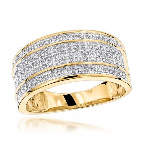 Luxurman 10k Gold Men's 2/5ct TDW 5-row Diamond Ring