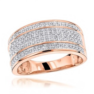 Luxurman 10k Gold Men's 2/5ct TDW 5-row Diamond Ring (3 options available)