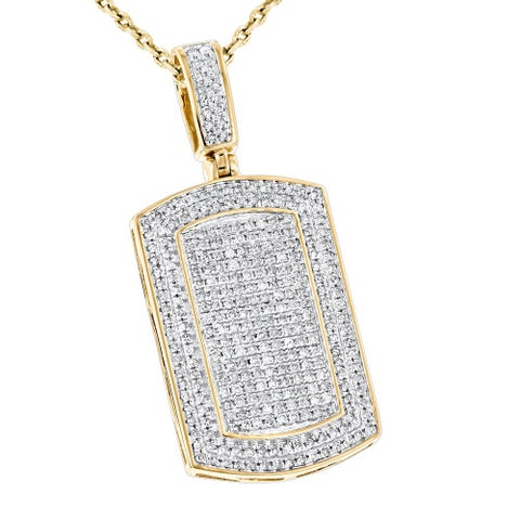 Luxurman Diamond 10k Gold 7/8ct TDW Diamond Iced Out Small Dog Tag Pendant
