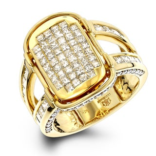 Luxurman 14k Gold 2 1/2ct TDW Princess-cut White and Yellow Diamond Ring