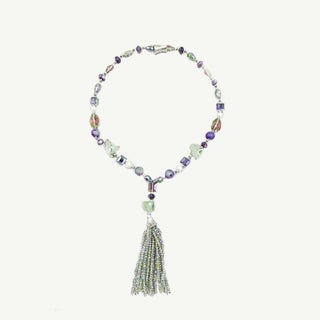 Raw Agate Nuggets, Crystals and Fresh Water Pearls Long Tassel Necklace