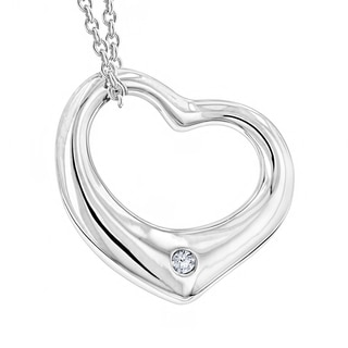 Sterling Silver Open Heart Diamond Accent Necklace