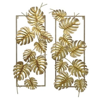 Three Hands Gold Metal Leaves Wall Art (Set of 2)