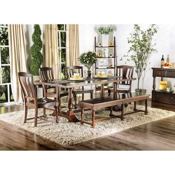 Furniture Of America Lumin Rustic Country Style Plank Top Brown Cherry Dining Table