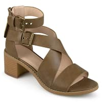 Journee Collection Women's 'Soraya' Double Ankle Strap Stacked Wood Heel Sandals