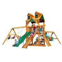 Gorilla Playsets Frontier Cedar Swing Set with Malibu Wood Roof and Natural Cedar Posts