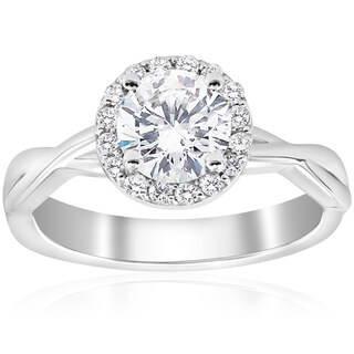14k White Gold 1 1/6 ct TDW Diamond Halo Clarity Enhanced Interwined Vine Engagement Ring