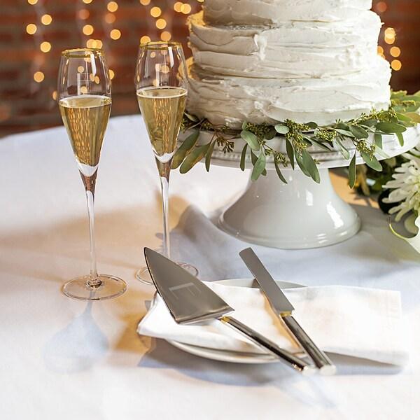 Shop Personalized Gold Champagne Flutes & Cake Serving Set