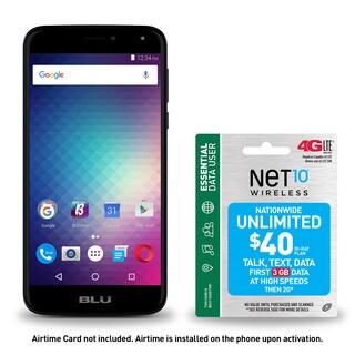 BLU Life Max L0110UU 16GB Unlocked GSM 4G LTE Quad-Core Phone - Blue + NET10 SIM with $40 of talk, text & up to 3GB of Data