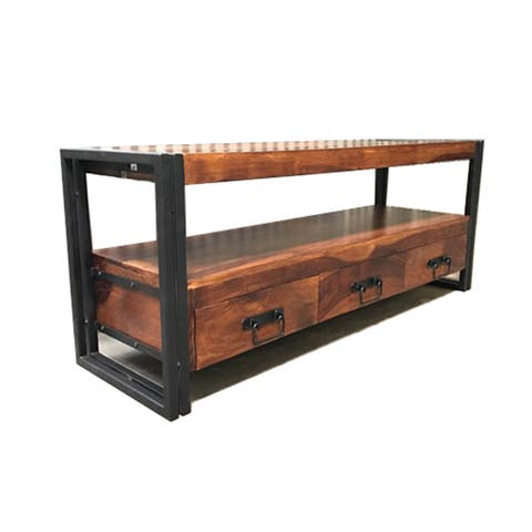 "Handmade Seesham Wood and Iron 3-Drawer TV Console - 60"" X 18"" x 24"" (India)"