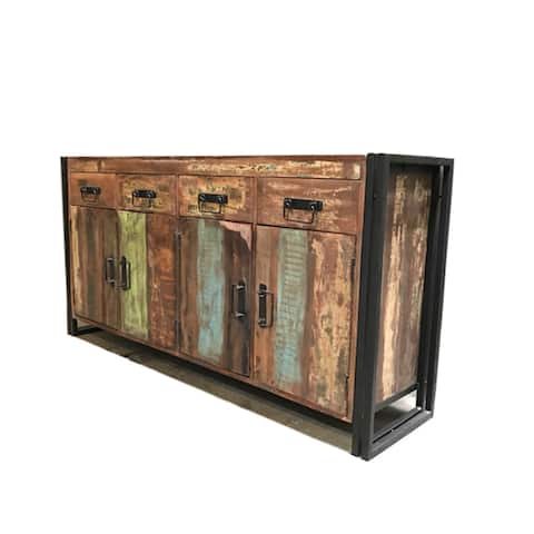 Handmade Old Reclaimed Wood and Iron 4-door 4-drawer Sideboard (India)